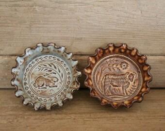 Rustic Folk Art Dish Duo - Rabbit & Ram