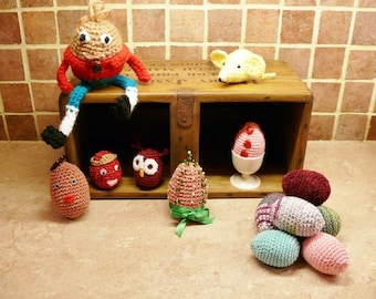 PDF crochet pattern for Easter Eggs, Humpty Dumpty and Mini-mice, instant download