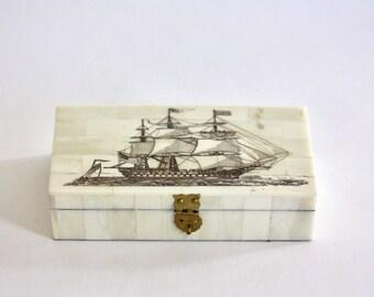 Vintage Bone Clad Clipper Ship Storage Box
