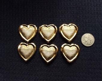 """6 Gold Mesh Heart Buttons Shanks 1&1/4"""""""