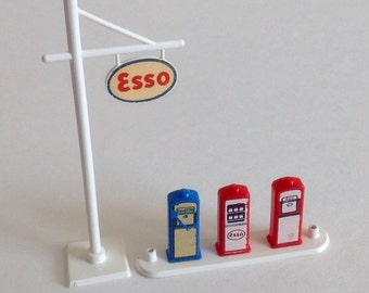 Esso Lego Gas Station Pumps and Sign