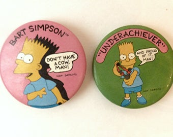 Simpsons Buttons Set of Two 1989   20th Century Fox