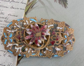 Antique 2 pc. Enameled Floral Filigree Coat Clasp or Belt Buckle