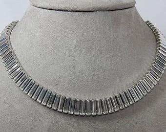 Vintage Clear Baguette Rhinestone Choker Necklace    OAH55