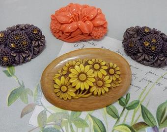 4 Vintage Carved Celluloid Flower Brooch Lot JAPAN