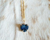 Blue Druzy and Gold Heart Necklace - druzy heart necklace - blue heart necklace - claw setting - satellite chain - holiday gift - boho gift