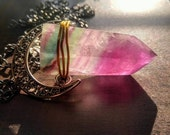 Moonlit Glow Healing Fluorite Crystal Mineral Wand Point Necklace