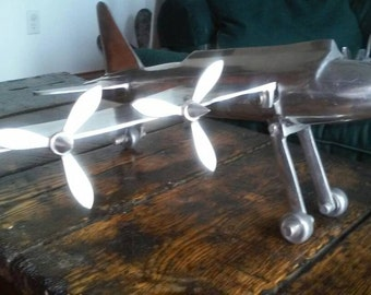 Aluminum hand made airplane aircraft folk art b-17
