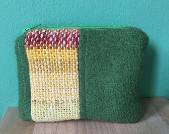 Green Wool Coin Purse with Handwoven Work