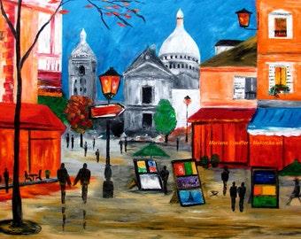 "cityscape paintings night couple street france artists lights paris architecture art original oil canvas 24x36"" Mariana Stauffer"
