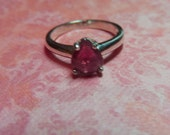 Ruby Ring - Genuine Pigeon Blood Red Ruby and Sterling Silver Ring - Size 7 Woman's Ring