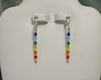 Clip on or Pierced Rainbow Chakra Czech Faceted Glass Silver or Gold Earrings 2 inches