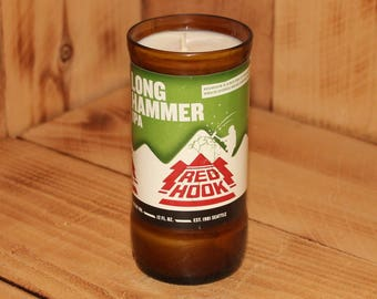 Hand Poured Soy Candle in Handmade Upcycled Red Hook Long Hammer IPA beer bottle glass made from a 12oz bottle