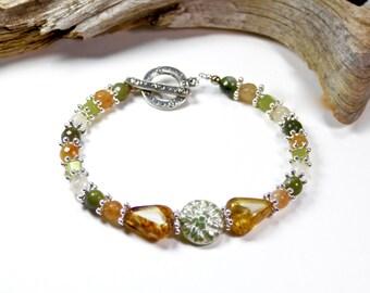 Amber green silver glass agate gemstone autumn bracelet