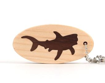 Tiger Shark Accessory, Scroll Saw Shark Keychain, Wood Shark Key Fob, Wooden Nautical Key Chain, Ocean Animal Key Ring, Walnut