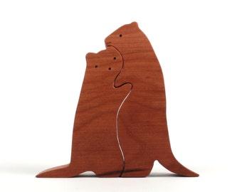 Wood Weasel Decoration, Weasel Cake Topper, Wooden Weasel, Simple Wood Animals, Weasel Figurine, Decorative Weasel, Cherry