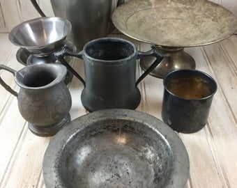 Assortment of Vintage Silver-plate, Metal and Pewter Home Decor Pieces