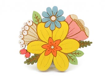 Daffodil posy brooch ~ hand painted laser cut flower brooch