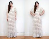 Vintage Wedding Knitted Crochet Kaftan Sleeve Maxi Dress RARE