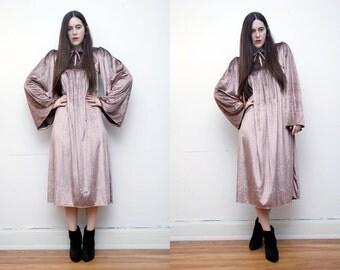 Vintage Velvet Hippie Angel Sleeve Kimono Kaftan Boho Maxi Dress 70's