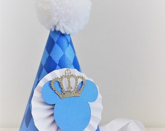 Mickey Mouse Crown Party Hat   Royal Blue and Gold Party Hat   Mickey Mouse Party   First Birthday   Mouse Ears   Prince Mickey   Little Man