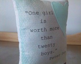 Throw pillows Peter Pan pillow gift canvas cushion aqua and cream cotton cushion girl birthday gift kids room decor aqua nursery pillows