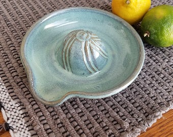 Citrus Juicer in Green Handmade Ceramic Pottery Lemon Lime