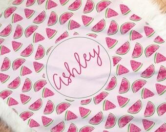 Watermelon Baby Blanket, Baby Name Blanket, Watermelon Swaddle Blanket, Personalized Baby Blanket