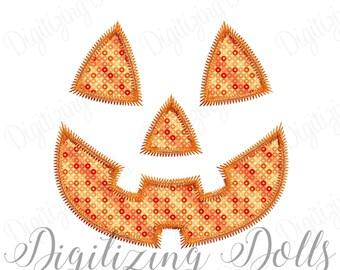 Halloween Pumpkin  Face Zigzag Applique Machine Embroidery Design 4x4 5x7 6x10 Jack O Lantern INSTANT DOWNLOAD
