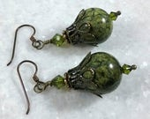 Edgy and Earthy Moss Green AAA Serpentine Marble Earrings With Peridot Swarovski Crystal and Bronze Filigree // Gift For Her //Gift For Mom
