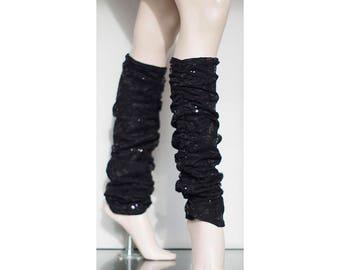 Black Lace Sequin Legwarmers