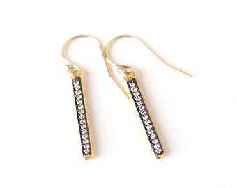 Elegant CZ Pave Gold Bar Dangle Earrings // Simple wedding and everyday Jewelry