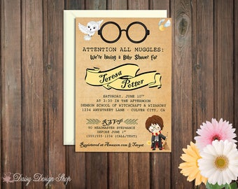 Baby Shower Invitation - Harry Potter Inspired - Watercolor and Antique Style