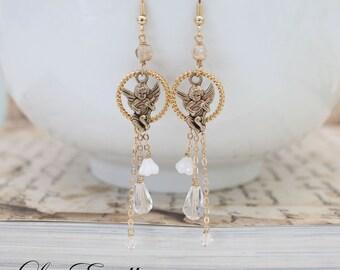 Cherub earrings Fairy earrings Asymmetrical earrings Angel earrings Mismatched Earrings Bohemian earrings Crystal earrings - Sweet Cherub