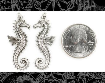 Silver Plated Brass Sea Horse Pendants Stampings Set of Two * S-P47