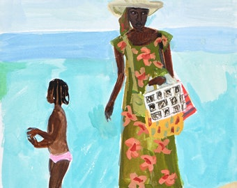 Beach Vendor, Puglia,  original art print