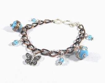 Copper link Charm Bracelet