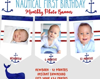 Nautical monthly photo banner Anchor photo banner Nautical first birthday Milestone banner Nautical birthday  printable watercolor