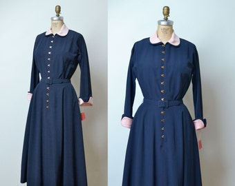 1950s Mollie Parnis Dress / 50s Navy Blue New Look Dress