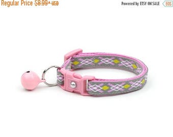 ON SALE Argyle Cat Collar - Pink, Yellow, and Grey Argyle - Small Cat / Kitten Size or Large Size