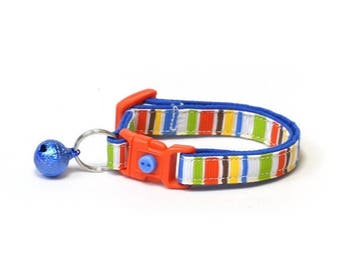 ON SALE Striped Cat Collar - Play Time Stripes - Small Cat / Kitten Size or Large Size