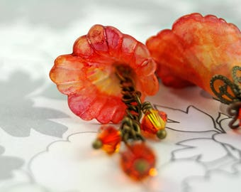 Hand Dyed Watercolor Lucite Flower Earrings, Orange and Red Earrings