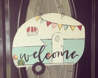 Vintage Camper Door Sign, Welcome Sign