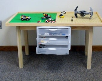 Large lego table with storage drawers