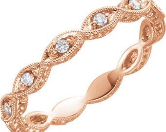 Vintage Inspired Milgrain Eternity Wedding Ring - Diamond Full Eternity Band. Art Deco Floral. 14k, 18k, Yellow, Rose, White Gold & Platinum