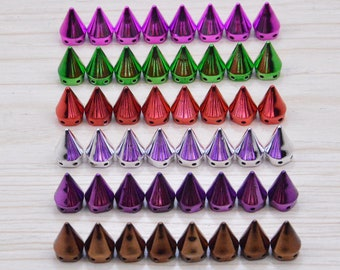 50 Spike, Spike studs, Studs and spikes, plastic spikes, flat back spikes, cone studs, bullet studs for embellishment, choose your color