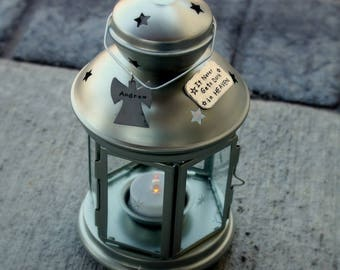 """Personalized MEMORIAL LANTERN for loss of baby, child, or loved one """"It Never Gets Dark in HEAVEN"""""""