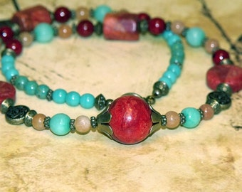 Red Coral Boho Chic Mixed Bead Necklace turquoise red orange stone bronze bohemian hippie chic indie art jewelry
