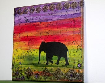 Elephant Silhouette Sunset Mixed Media Canvas - Africa Jungle Bohemian Hippie Boho Chic Rainbow Indie Art Wall Hanging Home Decor