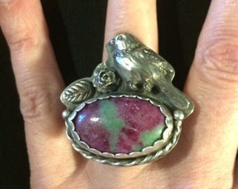 Sterling Silver 925, White Copper, and Ruby Zoisite Cabochon Bird Ring size 8 1/2
